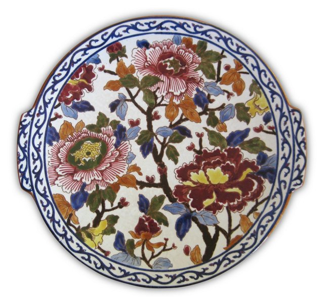 1940s French Peonies Serving Plate