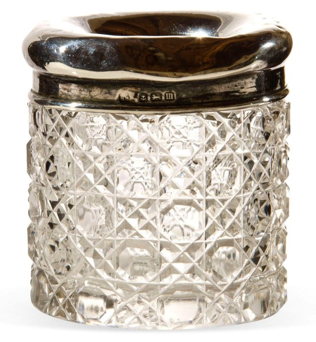 Antique Sterling & Glass Match Holder