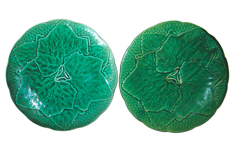 French Majolica Plates, S/2