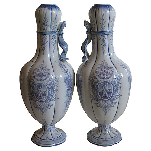 19th-C. French Faience Vases, Pair