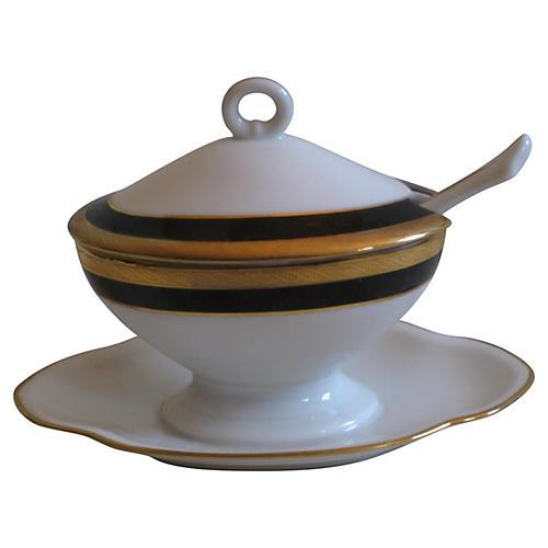 Ginori Gilt Porcelain Mustard Pot