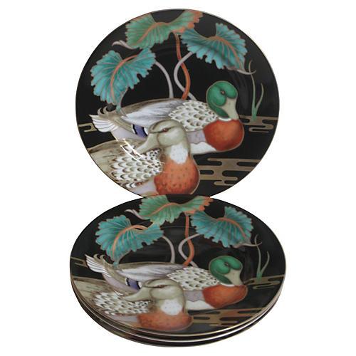 Gilt Porcelain Duck Plates, S/4