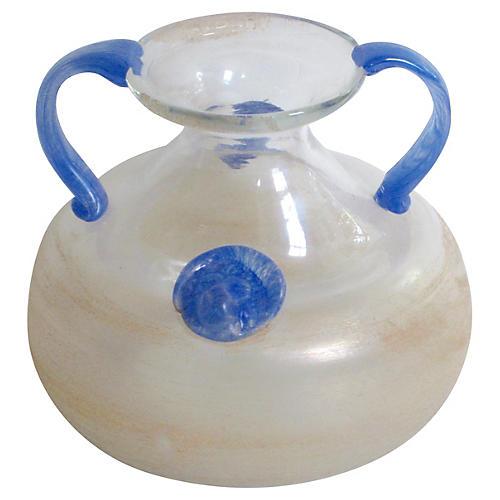 Murano Italian Scavo Double-Handled Vase