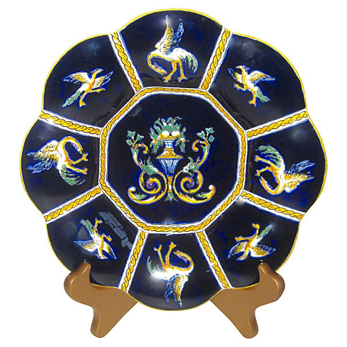 French Faience Lobed Plate w/ Stand