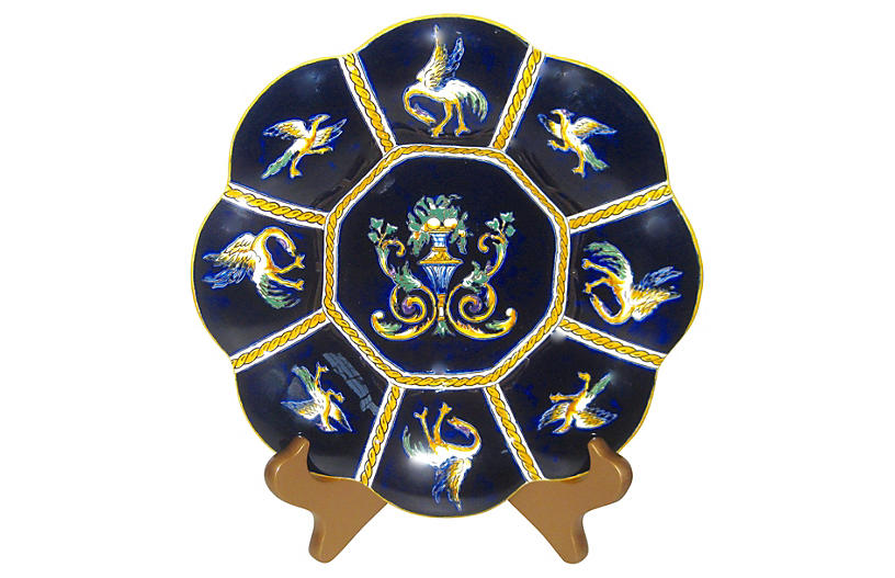 French Faience Lobed Plate w/Stand
