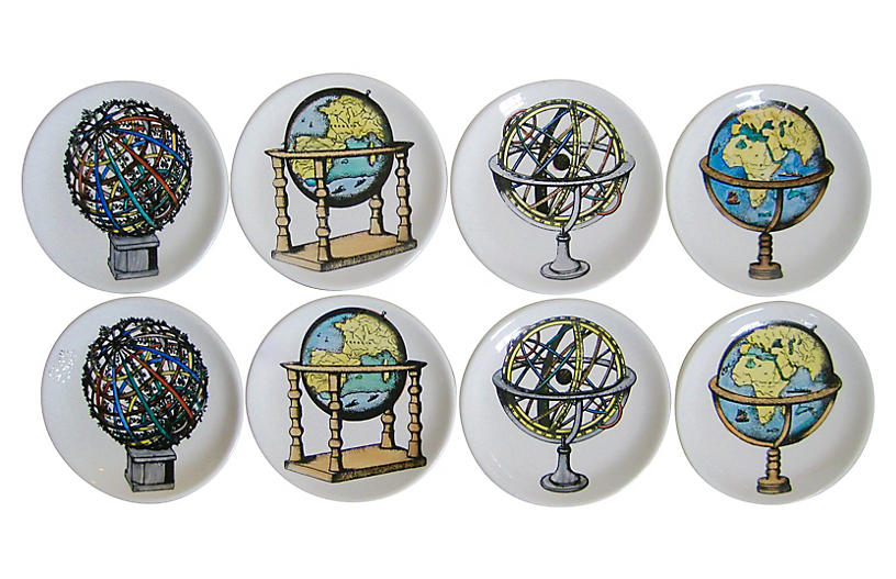 Fornasetti-Style Italian Coasters, S/8