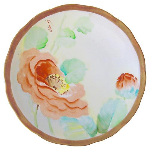 Italian Porcelain Poppy Plate, C. 1910