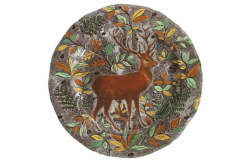 French Faience Deer Platter