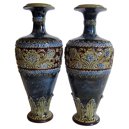 Early-1900s English Doulton Vases, Pair