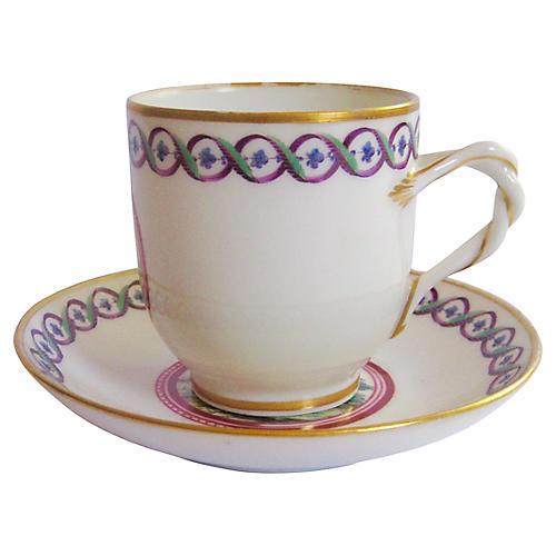 1920s Ginori Porcelain Cup & Saucer