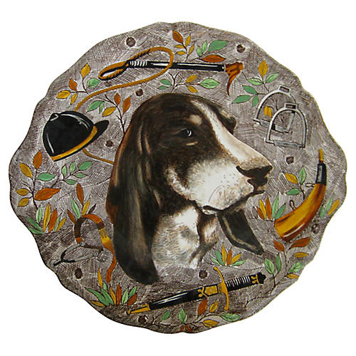 French Faience Hunting Dog Platter