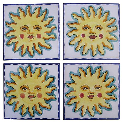 Deruta Italian Faience Tile Coasters S/4