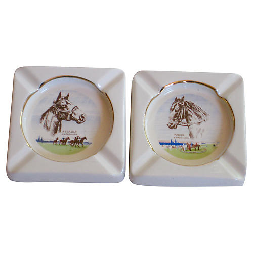 Assault and Ponder Horse Ashtrays, S/2