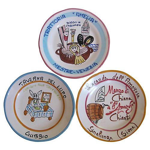 Italian Faience Buon Ricordo Plates, S/3