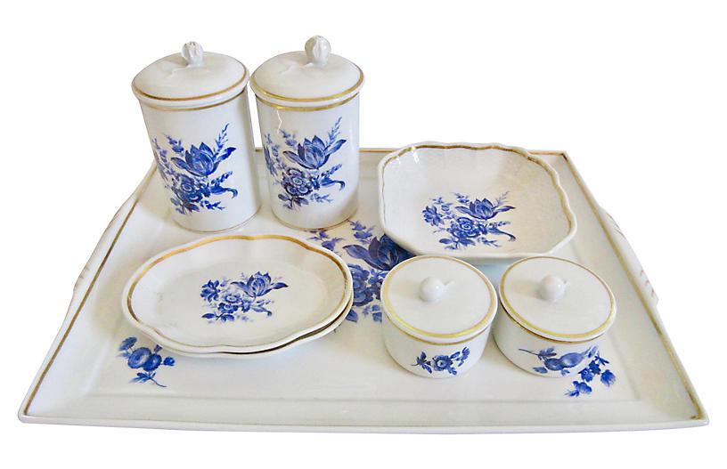 Ginori Italian Gilt Porcelain Vanity Set