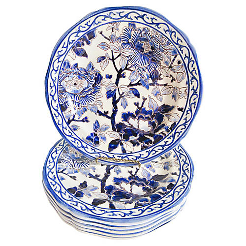 Gien French Faience Peonies Plates, S/6