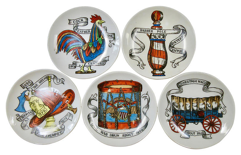 1960s Fornasetti-Style Coasters, S/5