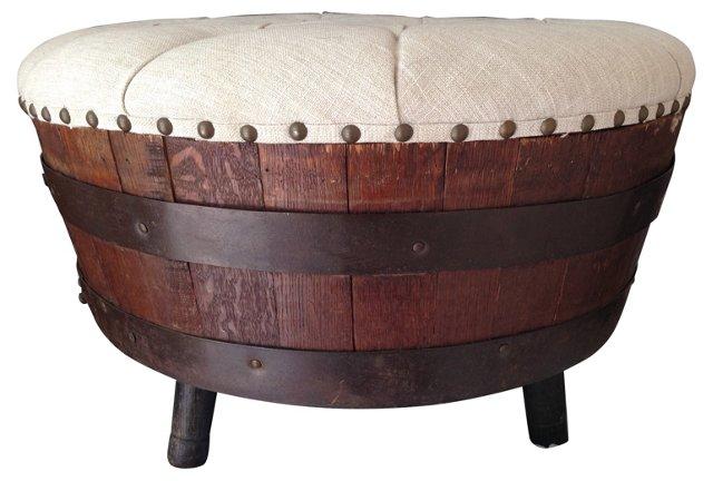 Whiskey Barrel Ottoman w/ Linen