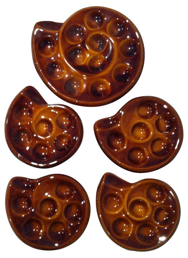 French Majolica Escargot Plates, S/5