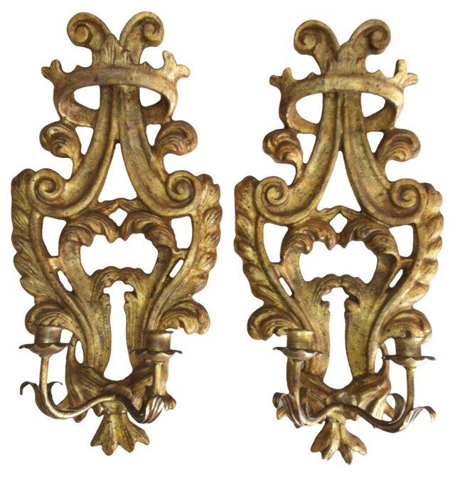 Carved Italian Corona Sconces, Pair