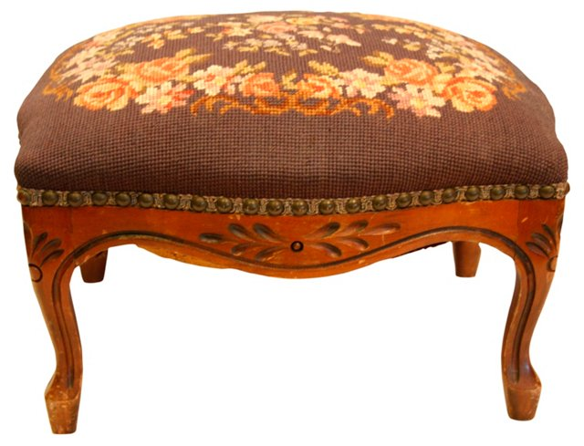 Antique French Walnut Footstool