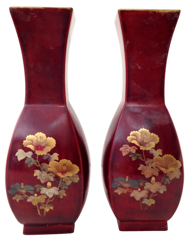 Red Lacquer Floral Vases, Pair