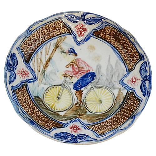Antique Majolica Plate w/ Bicyclist
