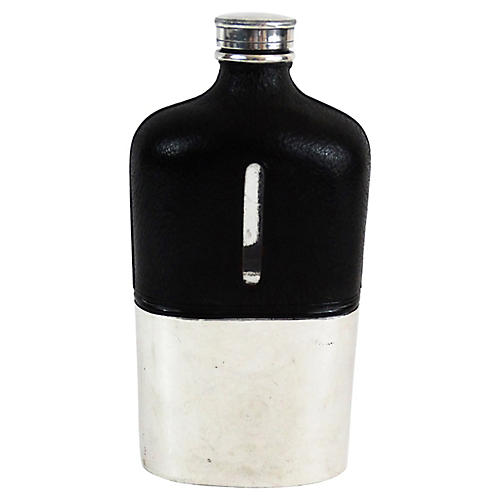 Antique Silver & Leather Liquor Flask
