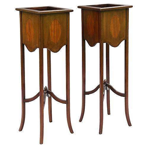 Antique Mahogany Plant Stands, S/2