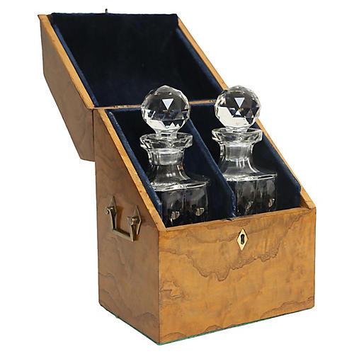 19th-C. Liquor Decanter Set, 3 Pcs