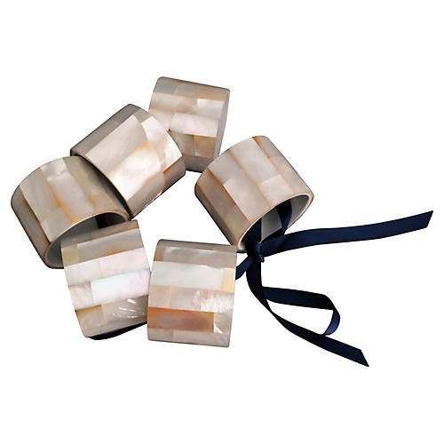 Mother-of-Pearl Napkin Rings, S/6
