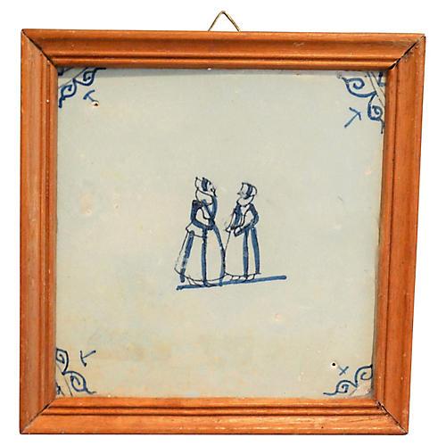 18th-C. Framed Dutch Delft Tile