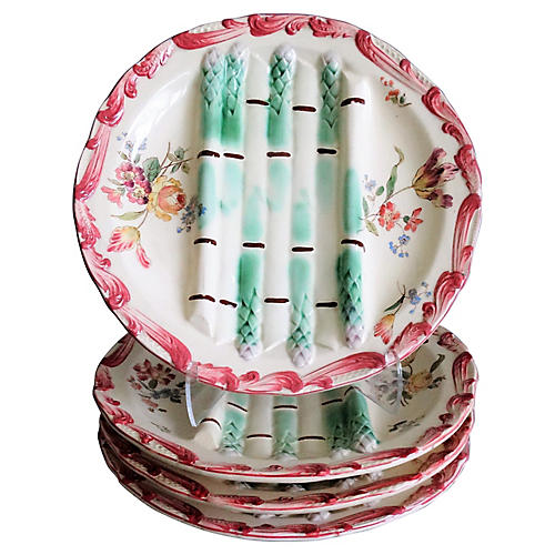 French Majolica Asparagus Plates, S/4