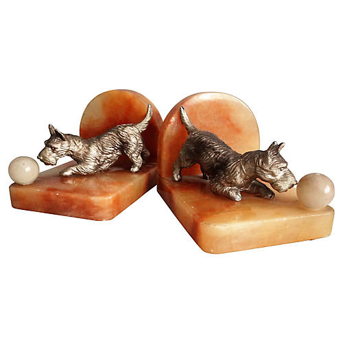 Marble & Bronze Scottie Dog Bookends
