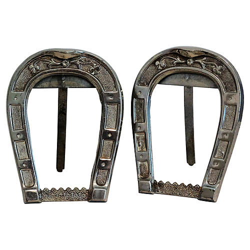 Silver Equestrian Horseshoe Frames, S/2