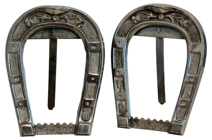 Silver Equestrian Horseshoe Frames, S/2 - Faded Rose Antiques LLC ...