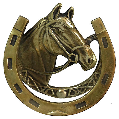 English Equestrian Brass Door Knocker