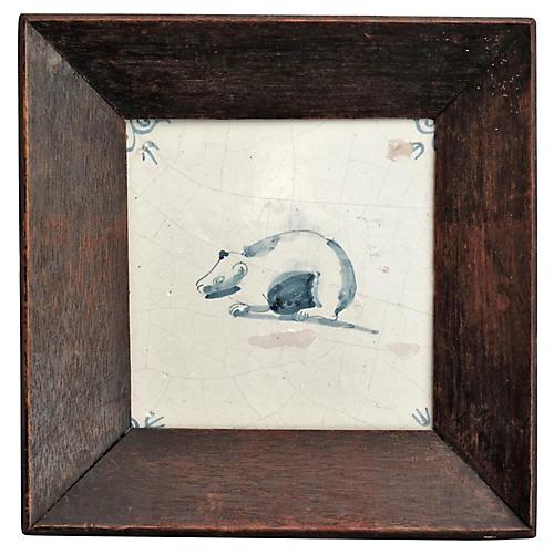 17th-C. Dutch Delft Polar Bear Tile