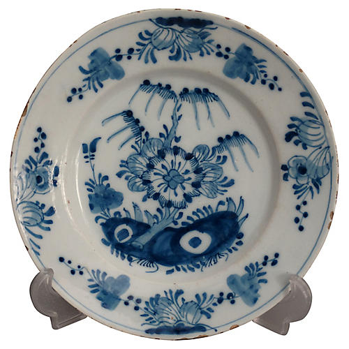 18th-C. Delft Chinoiserie Faience Plate