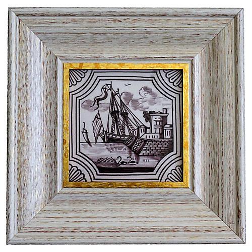 19th-C. Polychrome Delft Tile