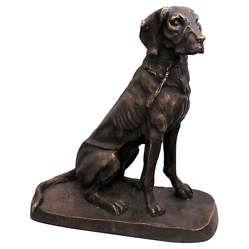 French Bronze Sporting Dog Statue