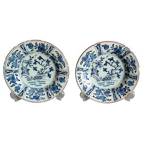 18th-C. Delft Chinoiserie Plates, Pair