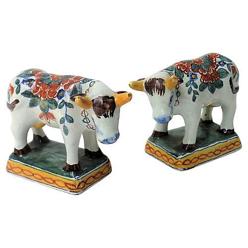 Antique Faience Dutch Delft Cows, S/2