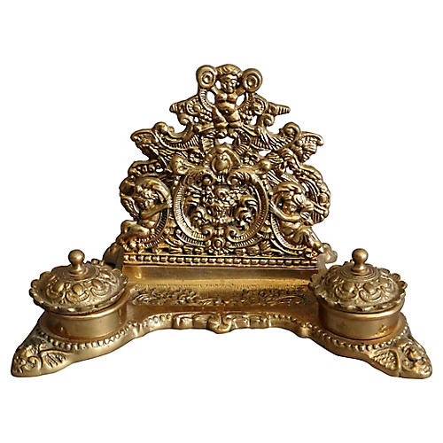 French Brass Art Nouveau Letter Rack