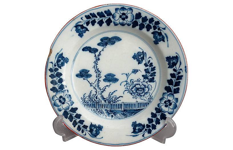 18th-C Delft Chinoiserie Plate