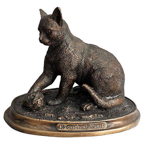 Bronze Cat Sculpture by F. Souchal