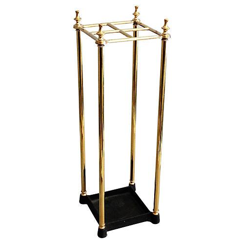 English Brass Umbrella Stand, C.1920