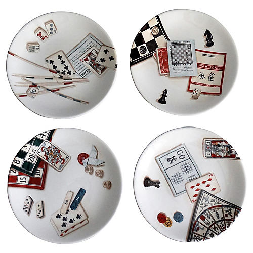 French Gien Game Plates, Set of 4