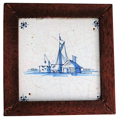 18th-C Delft Tile with Wharf