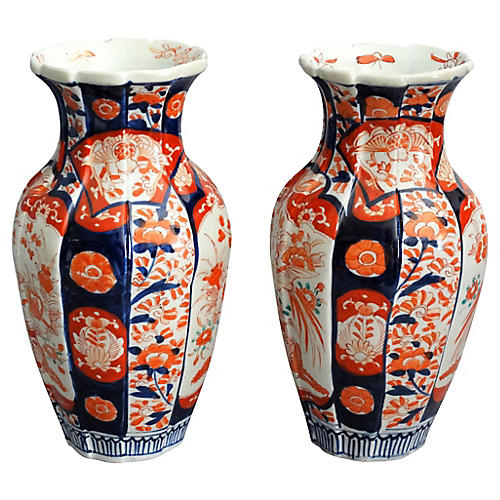 Japanese Imari Vases, Pair